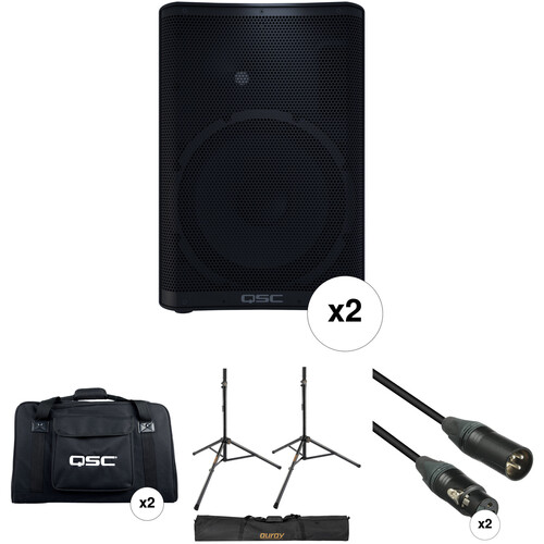 QSC CP12 Compact Loudspeakers with Bags, Stands, and Cables Kit (Pair)
