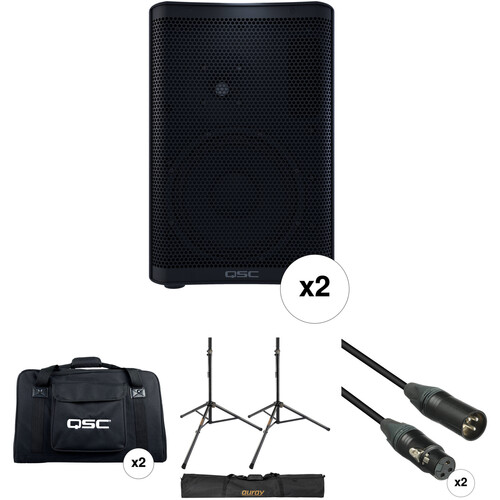 QSC CP8 Compact Loudspeakers with Bags, Stands, and Cables Kit (Pair)