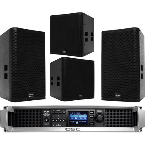 "QSC E15 15"" Two-Way Passive Loudspeaker with E18SW Subwoofer & PLD4.5 Amplifier"