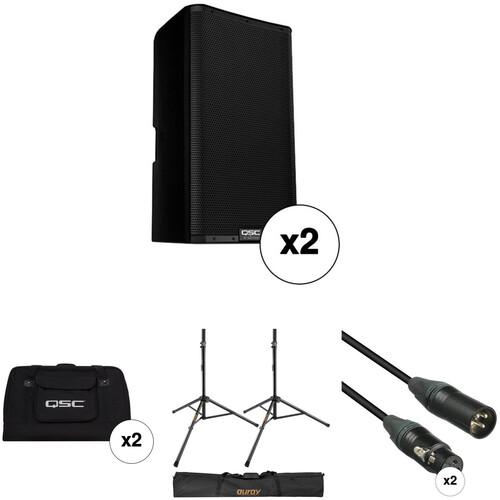 "QSC K12.2 K.2 Series 12"" 2000W Powered Speaker Pair with Essential Accessories Kit"