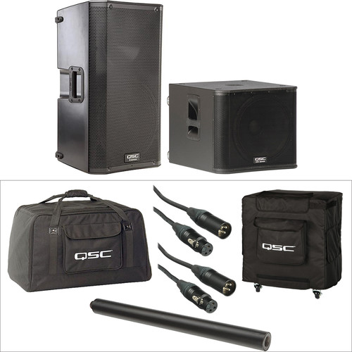 QSC K12 and KW181 Kit with Covers, Pole and Cables