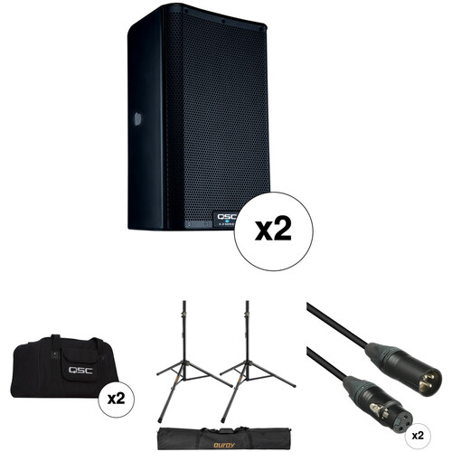 "QSC K8.2 K.2 Series 8"" 2000W Powered Speaker Pair with Essential Accessories Kit"