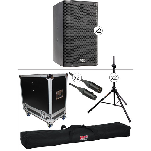 QSC K8 Dual Kit with Flight Case, Stands, and Cables
