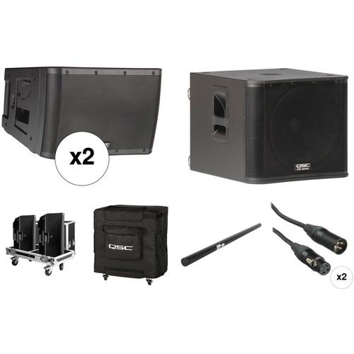QSC KLA12 Dual Line Array Kit with KW181 Subwoofer, Flight Case, Cover, Speaker Pole & Cables