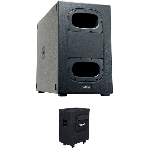 """QSC KS212C - Dual 12"""" Powered Subwoofer Kit with Padded Cover"""