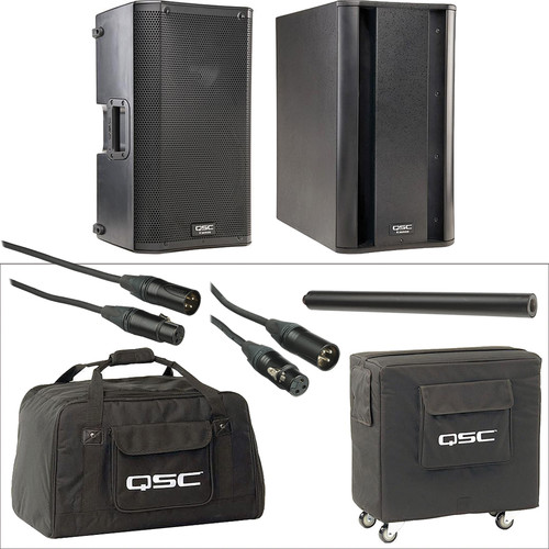 "QSC QSC K10 10"" 1000W Powered Speaker with Subwoofer Deluxe Kit"