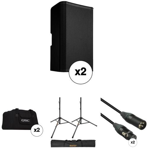 "QSC K10.2 K.2 Series 10"" 2000W Powered Speaker Pair with Essential Accessories Kit"