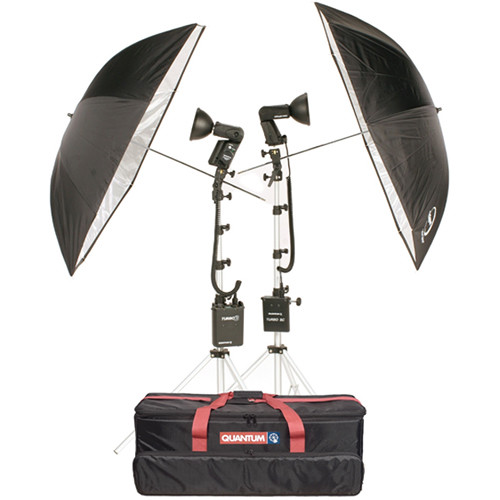 Quantum Instruments 2-Head Flash Kit w/ Trio & T5dR Flash Heads & Turbo 3 & Turbo SC Batteries for Canon Cameras