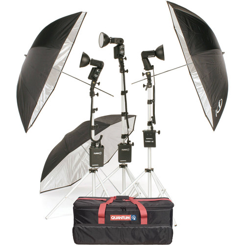 Quantum Instruments 3-Head Flash Kit w/ Trio & T5dR Flash Heads & Turbo 3 & Turbo SC Batteries for Canon Cameras