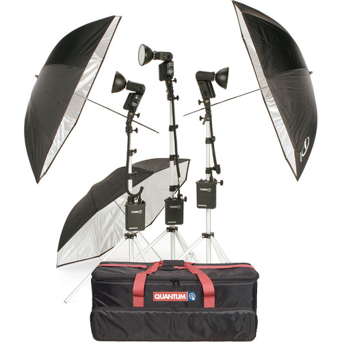 Quantum Instruments 3-Head Flash Kit with T5dR Heads and Turbo 3 Batteries for Nikon Cameras