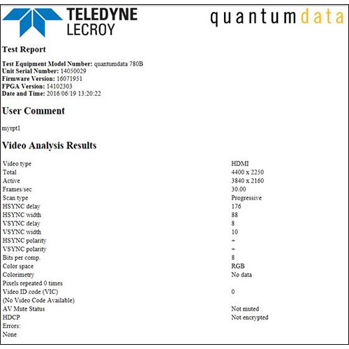 Quantum Test Report with Analyzed Data & Test Results Creator for 780/804 Test Report Generators