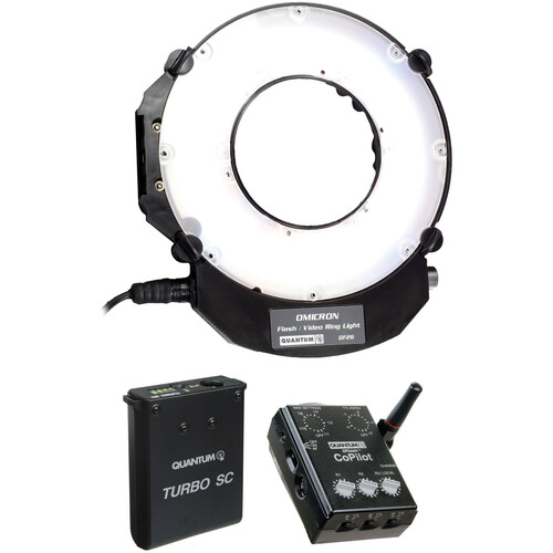 Quantum Instruments Omicron OM3 LED TTL Flash and Video Light Kit with Turbo SC Slim Battery Pack & CoPilot Flash Controller for Nikon