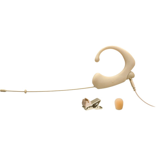 Que Audio Single-Ear Headworn Omnidirectional Microphone Bundle (Beige)