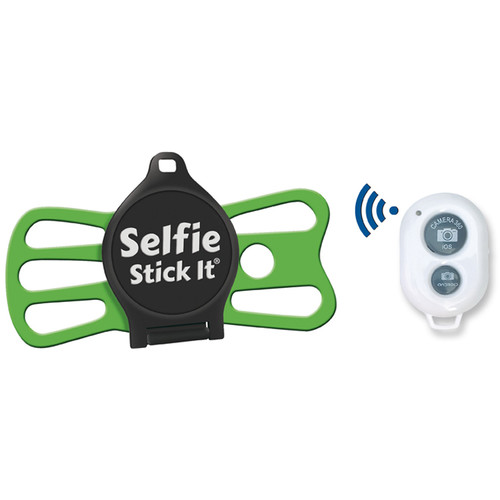 Quik Pod Selfie Stick-It with Bluetooth (Black Body/Green Grip)