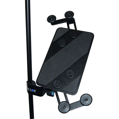 QuikLok IPS-12 Microphone and Music Stand-Mount Universal Tablet Holder (Black)