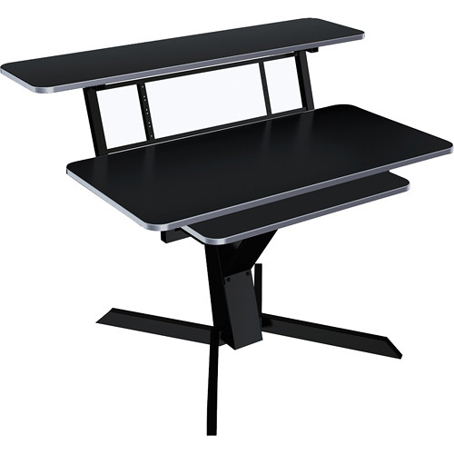 QuikLok Z-460BK Triple Shelf Workstation with Black Wood Tops and Pullout Shelf