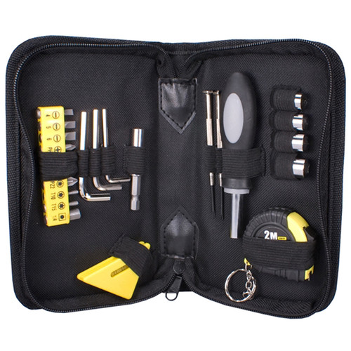 QVS 23-Piece Technician's Tool Kit with Level and Tape Measure (Black)