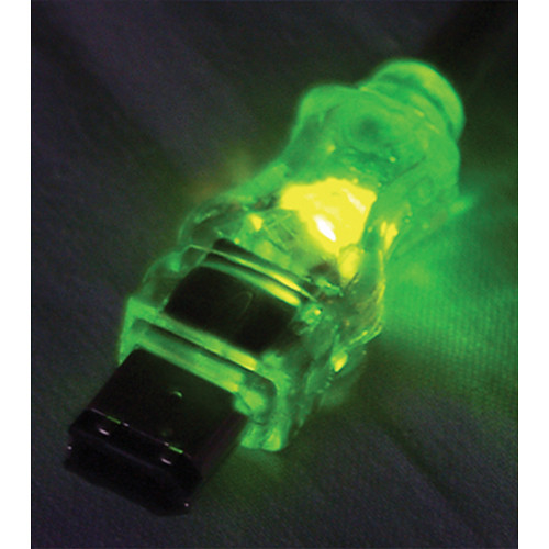 QVS FireWire/i.Link 6-Pin Translucent Cable with Green LEDs (6')