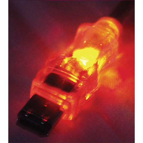 QVS FireWire/i.Link 6-Pin Translucent Cable with Orange LEDs (6')