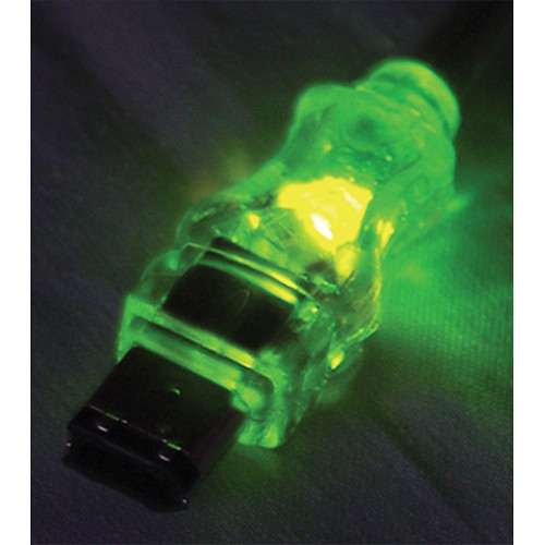 QVS FireWire/i.Link 6-Pin Translucent Cable with Green LEDs (10')