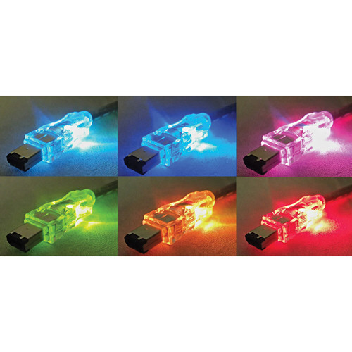 QVS FireWire/i.Link 6-Pin to 4-Pin Translucent Cable with Multi-Color LEDs (6')