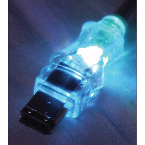 QVS FireWire/i.Link 6-Pin to 4-Pin Translucent Cable with White LEDs (6')