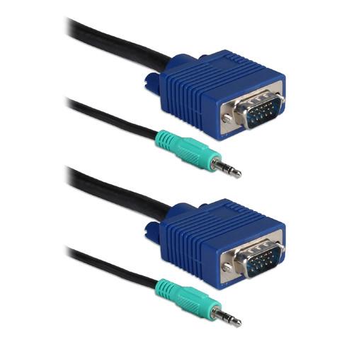 QVS Premium Tri-Shield VGA HD15 & 3.5mm Stereo Male to Male Combo Cable (35')