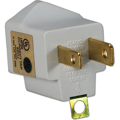 QVS 3-Prong to 2-Prong Power Adapter (2-Pack, White)