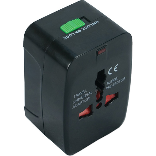 QVS World Power Travel Adapter Kit with Surge Protection (Black)