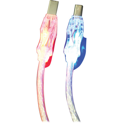 QVS USB 2.0 Cable Kit with Red & Blue LEDs (6', Two Pack)