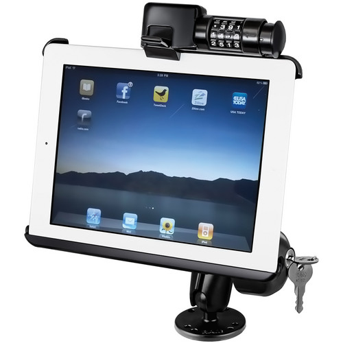 RAM MOUNTS RAM Locking Flat Surface Mount with Latch-N-Lock Model Specific Cradle for the Apple iPad 3, iPad 2, and iPad 1 without Case, Skin, or Sleeve