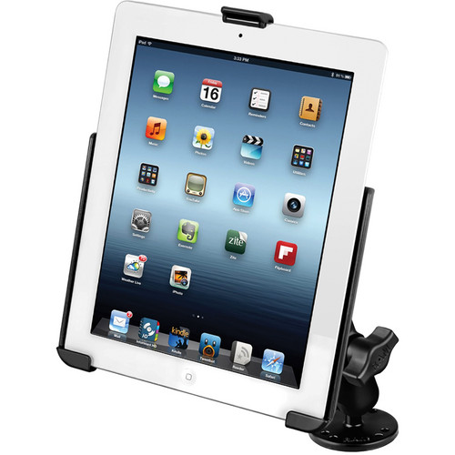 RAM MOUNTS RAM Flat Surface Mount with EZ-ROLL'R Model Specific Cradle for the Apple iPad 4, iPad 3, iPad 2, and iPad 1 without Case