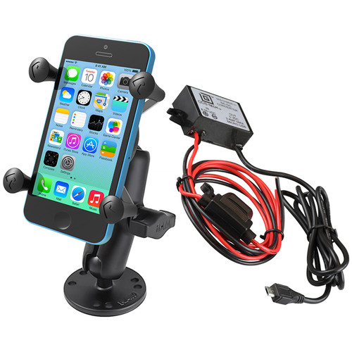 RAM MOUNTS Flat Surface Mount Kit with Universal X-Grip Cradle & Micro-B USB Step Down Converter/Charger