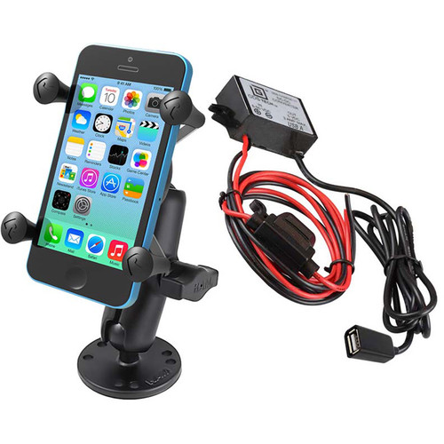 RAM MOUNTS Flat Surface Mount Kit with Universal X-Grip Cradle & USB Type A Step Down Converter/Charger