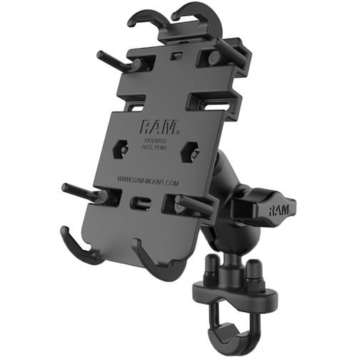 RAM MOUNTS Quick-Grip Large Phone Mount with Handlebar U-Bolt Base (Poly Bag Packaging)