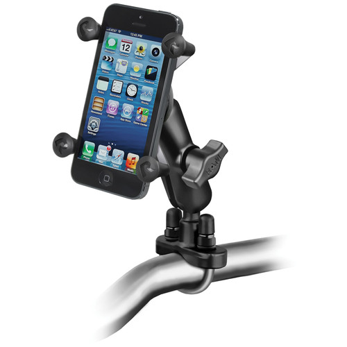 RAM MOUNTS Handlebar Rail Mount with Universal X-Grip Cell Phone Holder (Bulk Packaging)