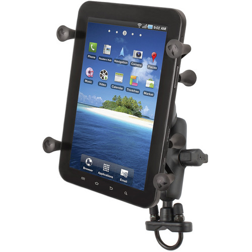 "RAM MOUNTS Handlebar Rail Mount with U-Bolt Base and Universal X-Grip Cradle for 7"" Tablets"