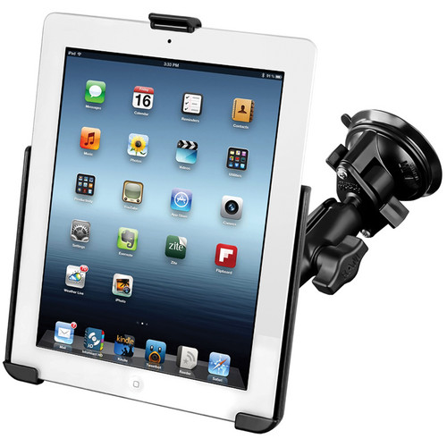 RAM MOUNTS RAM Twist Lock Suction Cup Mount with EZ-ROLL'R Model Specific Cradle for iPad 1/2/3/4