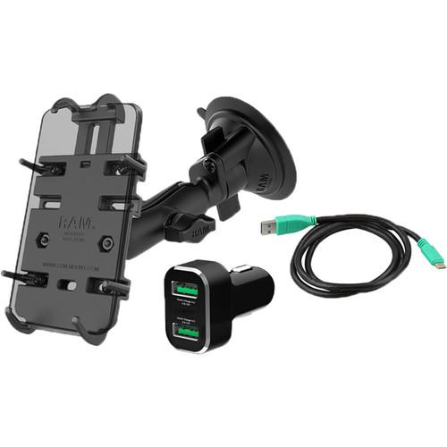 RAM MOUNTS Quick-Grip XL with USB Type-C Cable, 2-Port USB QC Cigarette Charger Vehicle Bundle