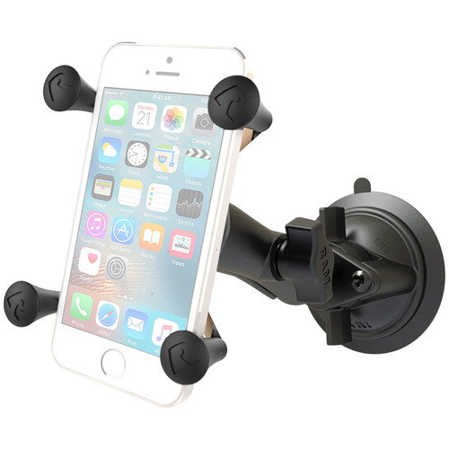RAM MOUNTS Twist Lock Suction Cup Mount with Universal X-Grip Phone Cradle