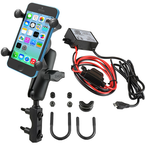 RAM MOUNTS Brake/Clutch Reservoir U-Bolt Mount Kit with Universal X-Grip Cradle & Micro-B USB Charger