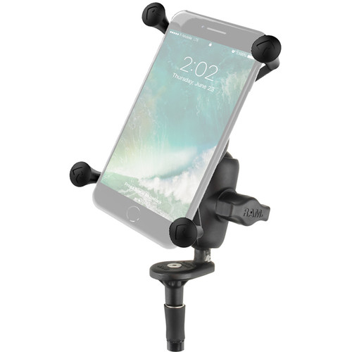 RAM MOUNTS Fork Stem Mount with Short Double Socket Arm & Universal X-Grip Cradle for Large Phones