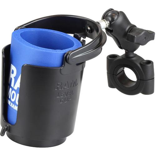 """RAM MOUNTS Short Bar Mount Cup Holder (Fits 1.125-1.5"""" Bars)"""