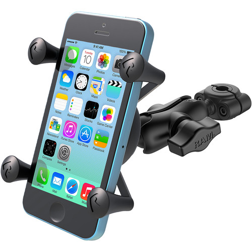 "RAM MOUNTS Torque Mini Rail Base with 1"" Ball, Short Arm, and X-Grip for Select Phones (For Rails 3/8 - 5/8"" )"