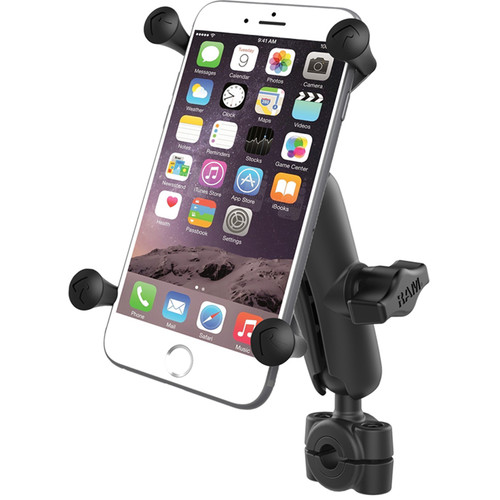 "RAM MOUNTS Torque Mini Rail Base Kit with 1"" Ball, Standard Arm, & X-Grip Cradle for Large Phone (For 3/8"" to 5/8"" Rails)"