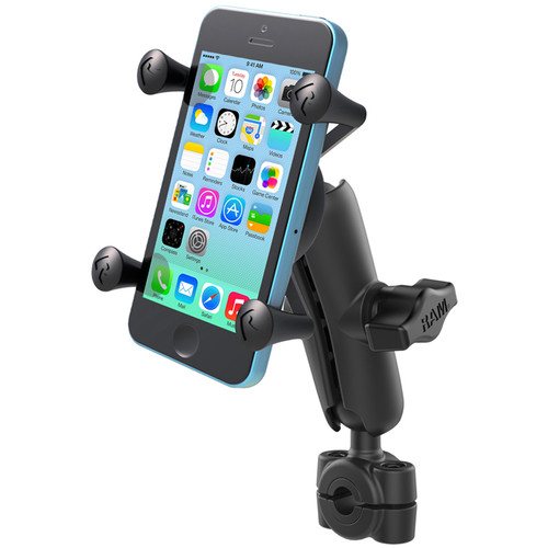 "RAM MOUNTS Torque Mini Rail Base Kit with 1"" Ball, Standard Arm, & X-Grip Cradle for Phone (For 3/8"" to 5/8"" Rails)"