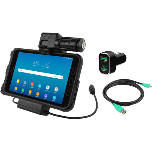 RAM MOUNTS Key-Locking Power & Data Cradle for Samsung Tab Active2 with Charger