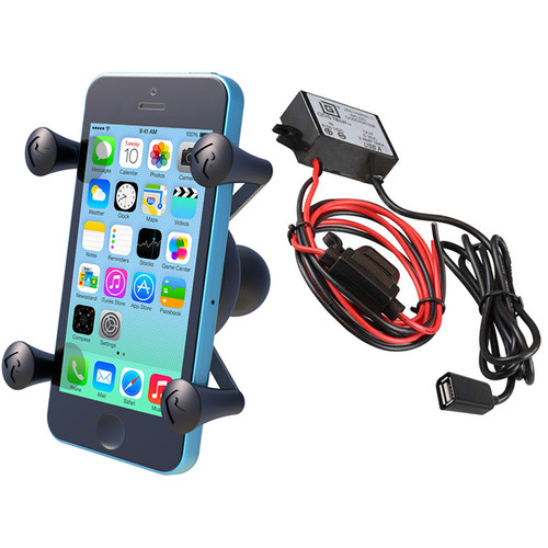 RAM MOUNTS Universal X-Grip Cradle with USB Type A Step Down Converter/Charger