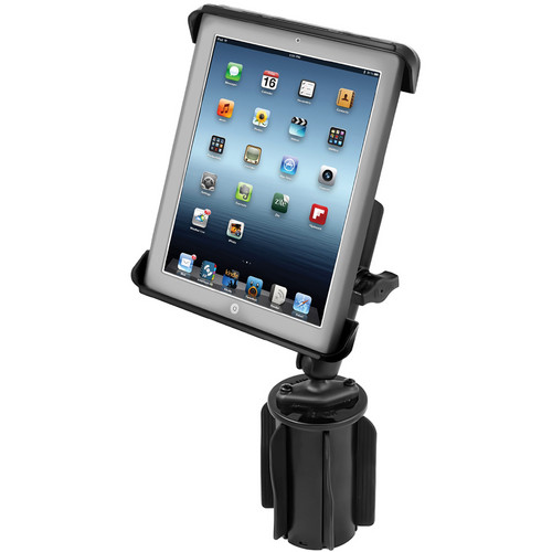 RAM MOUNTS RAM-A-CAN II Universal Cup Holder Mount with Long Double Socket Arm & Tab-Tite Universal Clamping Cradle for iPad 1/2/3/4