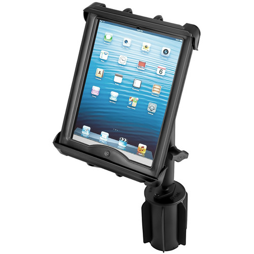 RAM MOUNTS RAM-A-CAN II Universal Cup Holder Mount with Tab-Tite Universal Clamping Cradle for Large Tablets with Heavy Duty Cases